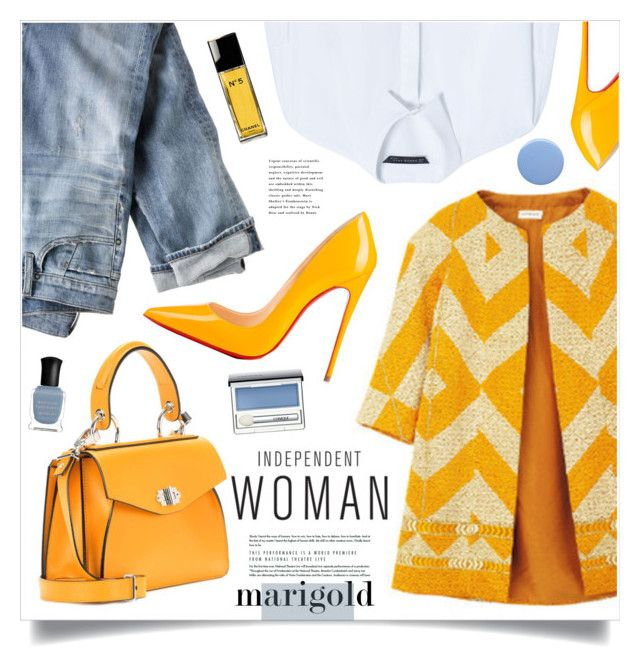 Independent Woman by marina-volaric on Polyvore featuring polyvore fashion style Zara J.Crew Christian Louboutin Proenza Schouler Clinique Chanel Deborah Lippmann Burberry Dries Van Noten clothing marigold