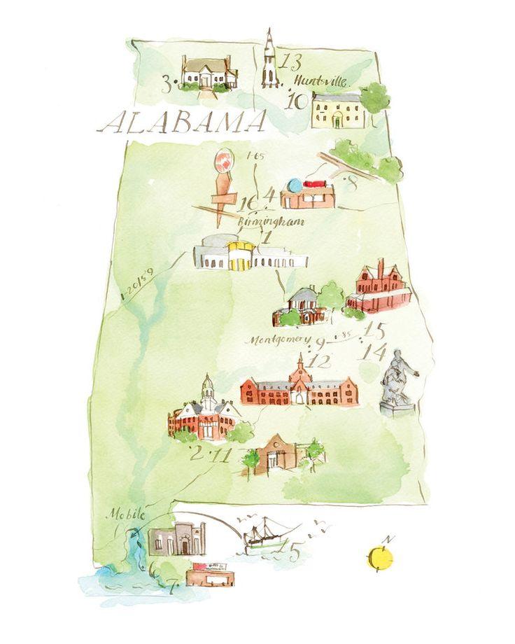 Literary Map of Alabama 18 best Vintage