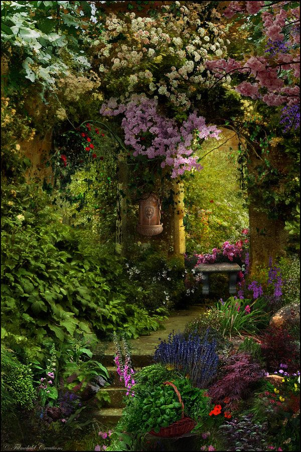 Oh the abundance!  Lots of flowers, lots of green, lots of shade.  This is so beautiful.: Flowers Gardens, Enchanted Garden, Color, Gardens Entry, Places, Beautiful Gardens, The Secret Gardens, Dreams Gardens, Provence France