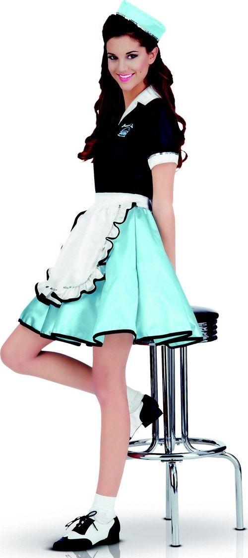 Disfraz adulto Girl 50's: Este disfraz de camarera de los años 50 para mujer incluye vestido, delantal y sombrero (zapatos y calcetines no incluidos).La parte superior del vestido es negra. El cuello y las mangas...