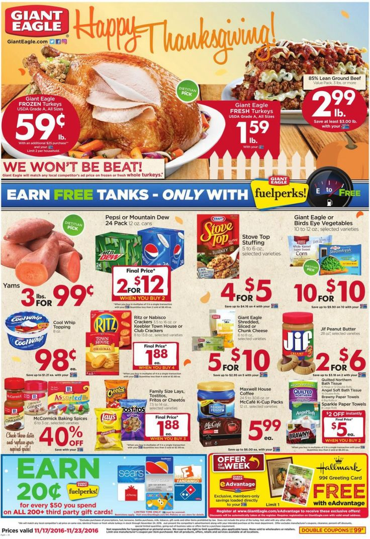 Giant Eagle circular weekly ad Nov. 17 thru Nov. 23 Happy Thanksgiving!