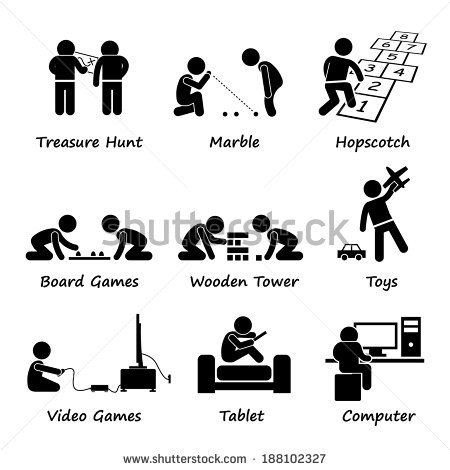 Children Playing Traditional and Modern Games Stick Figure