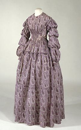 Circa 1850 Summer Dress, printed cotton and linen, lined.