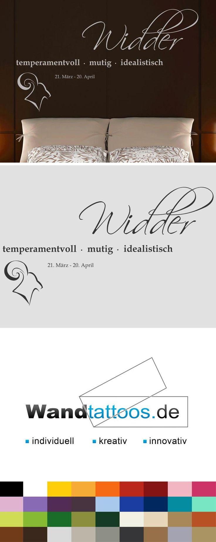"""Wandtattoo Sternzeichen """"Widder"""" als Idee zur individuellen Wandgestaltung. Einfach Lieblingsfarbe und Größe auswählen. Weitere kreative Anregungen von Wandtattoos.de hier entdecken!"""