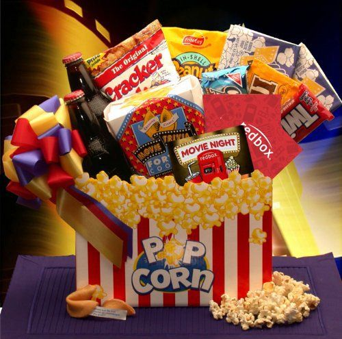 You'll find old-time movie going goodness in the Movie Madness gift basket. There's movie theatre popcorn, cookies, Cracker Jacks, peanuts, and candy plus Classic Root Beer in this popcorn gift box. Available with 10.00 Redbox gift card. They may watch instantly on their PC or rent... more details available at https://perfect-gifts.bestselleroutlets.com/gifts-for-holidays/grocery-gourmet-food/product-review-for-gift-basket-movie-night-mania-gift-box-with-10-00-redbo
