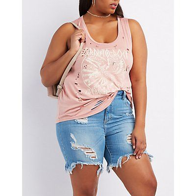 Plus Size Pink Destroyed Graphic Tank Top - Size 2X