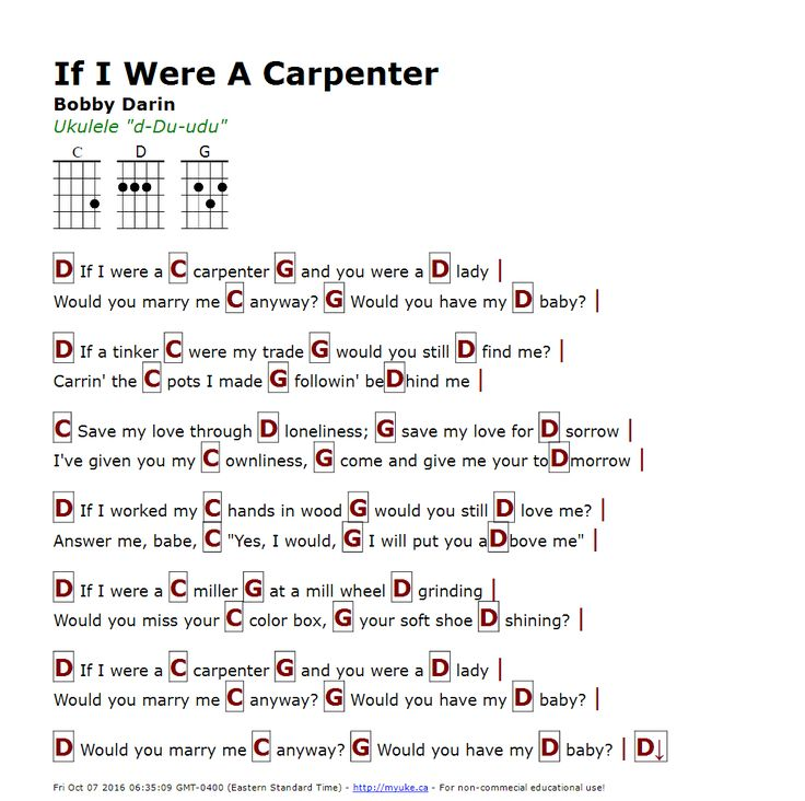 If I Were A Carpenter (Bobby Darin) - http://myuke.ca