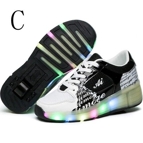 Schuhe Mit Rollen & LED Schwarze Für Jungs