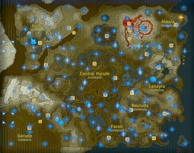 carte sanctuaires zelda breath of the wild Carte sanctuaire The Legend of Zelda Breath of the Wild (With
