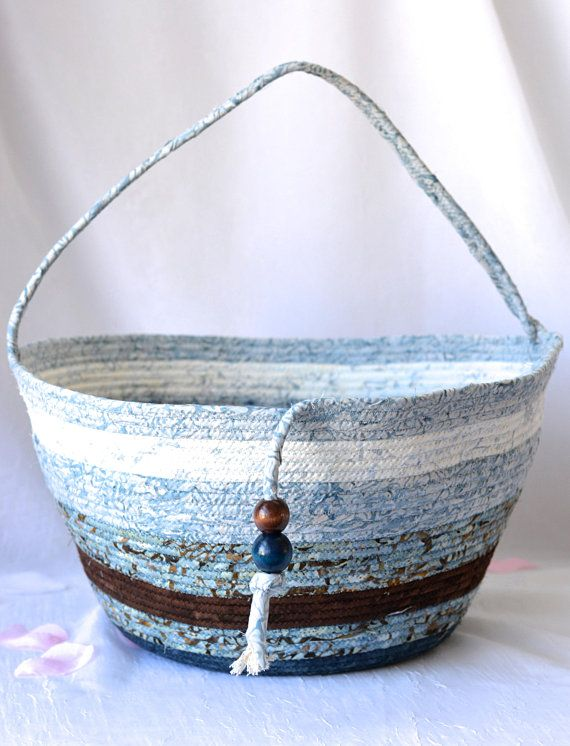 Unique Fabric Art Vessel, Rustic Blue Storage Container, Handmade Handled Batik Basket, Blue Basket with handle, Modern Chic Fabric Bin     Handmade Artisan Quilted Basket #wexfordtreasures #basket #bowl #gift #decorative #handmade #home #decor #etsyshop #artisan #coiled #quilted #textile #art #fiber #fabric #rope #tote #bag #moses #basket #purse #ooak #grey #clothesline #gray #brown #blue