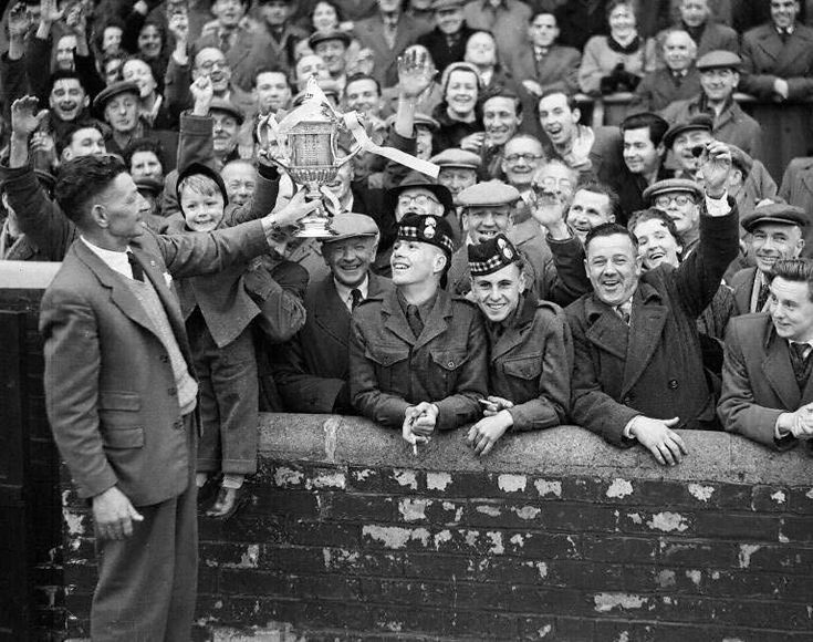1956 mattie chalmers shows fans the scottish cup
