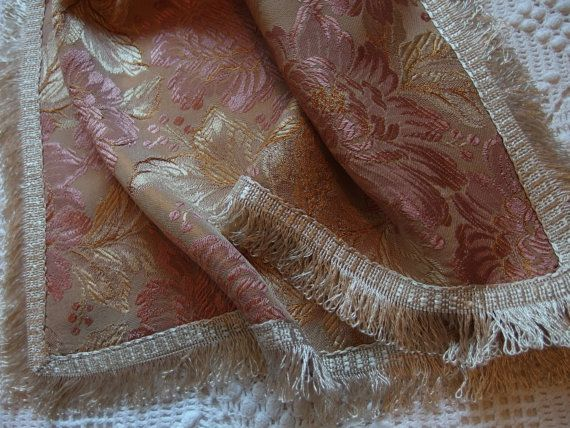 Add some Luxury in Your Bedroom!!! Vintage Silk Damask Brocade Pair Suare Pillow covers Fringed by VintageHomeStories