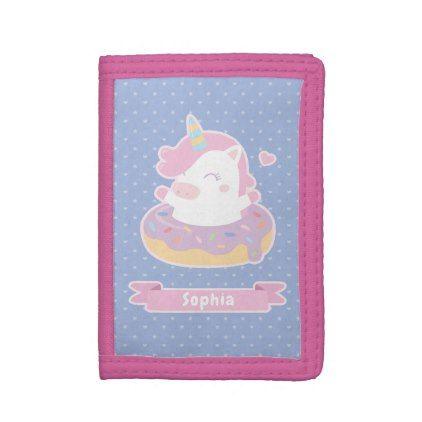 Cute Unicorn in Doughnut Girls Personalized Wallet - accessories accessory gift idea stylish unique custom