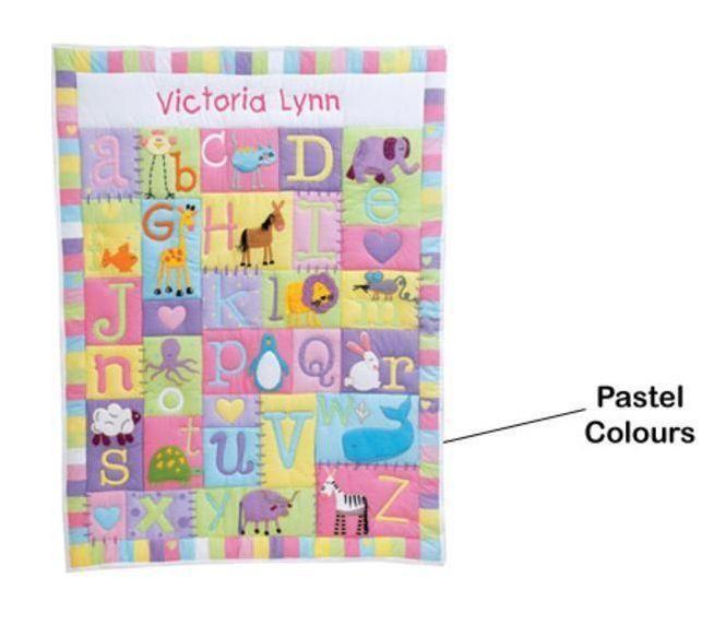 Baby Child Personalised Quilt Bedding Blanket Nursey Cot Newborn Gift  heirloom