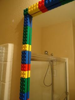Duplo used here, I'm not sure about it here but it might work with a smaller mirror.  (It could use a second round to be a little wider border is all...)