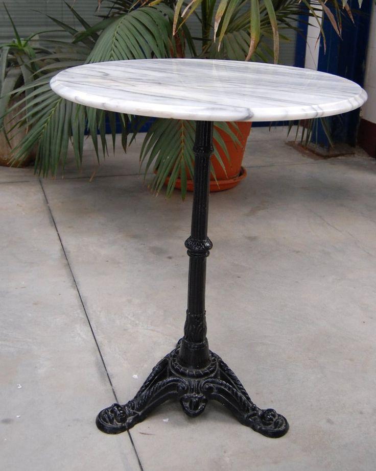 Tavolino da bistrot piano in marmo gamba in ghisa diametro 59 cm metà '900