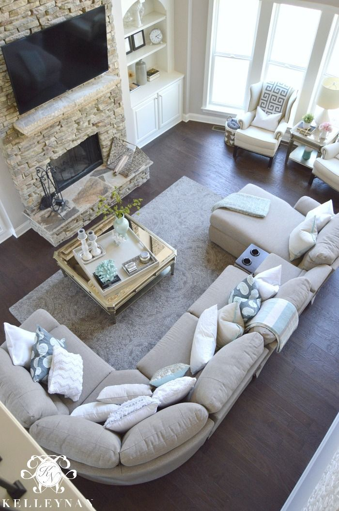 Two Story Living Room with La-Z-Boy Aspen Corner Sectional