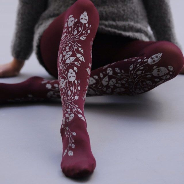 Vintage Tattoo Tights/ Purple Tights / Foliage Pattern Gray / Full Length Leggings / High Quality / Free Shipping by zoharatights on Etsy https://www.etsy.com/listing/204087589/vintage-tattoo-tights-purple-tights
