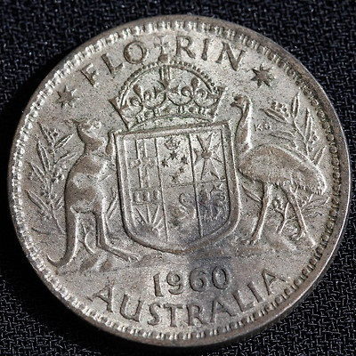 Old 'two bob' coin.  Australia changed to decimal currency on 14 February 1966.