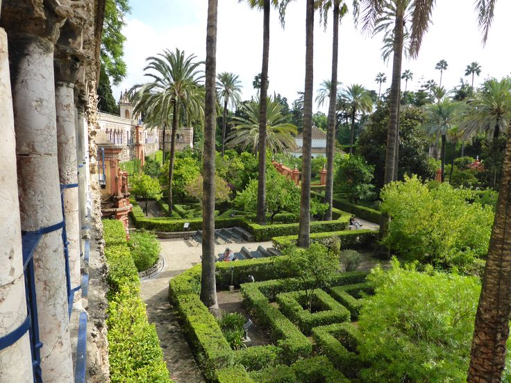 Gardens in Alcazar in Sevilla