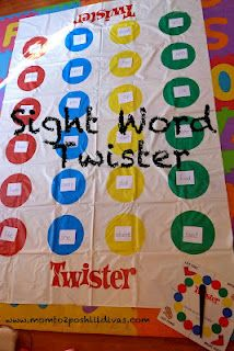 practice boring sight words a fun way - play Sight Word Twister! (also letter or numeral identification)  Combine movement, reading & fun and kids will be learning in no time!