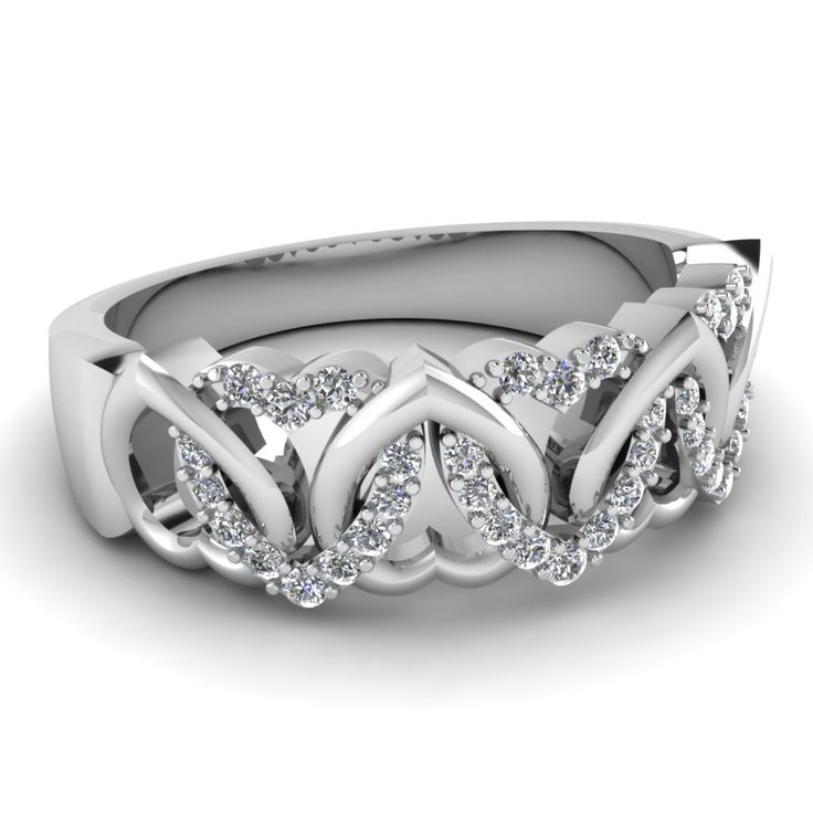 Interweaved Heart Band || Sterling Silver Rings In White Diamonds
