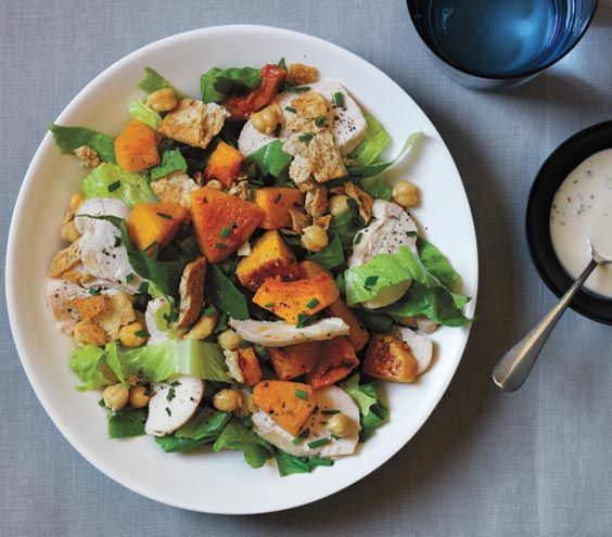 Chicken, Squash, and Chickpea Salad With Tahini Dressing   Get the recipe: http://www.realsimple.com/food-recipes/browse-all-recipes/chicken-squash-chickpea-salad-00100000074104