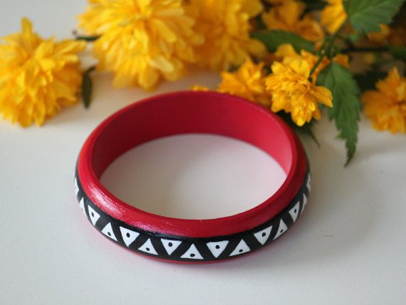 Aztec hand-painted bangles. Handpainted wooden by DeaJewelryStore
