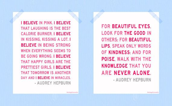 I Believe in Pink You Are Never Alone Digital Print Set Audrey Hepburn Quote Print Collection 8 x 10 Printable Wall Nursery Art on Etsy, $20.69 AUD