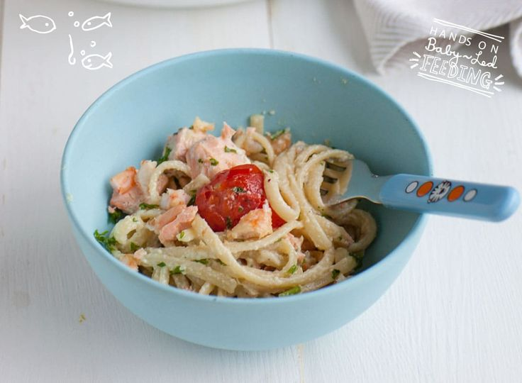 Baby Led Feeding Salmon and Prawn Linguini baby bowl of food. Homemade Baby led weaning Recipes.