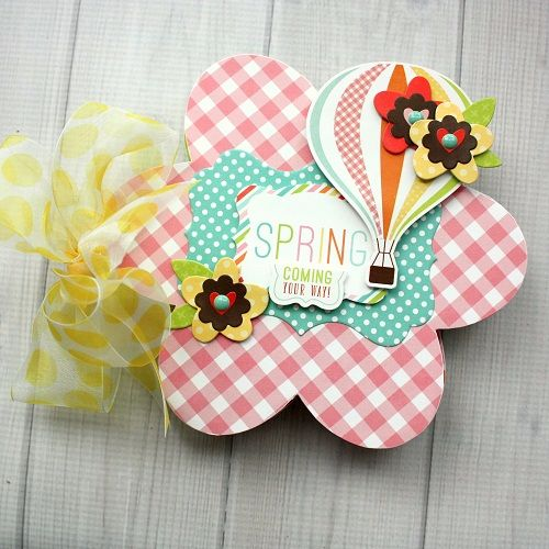 """Flower Shaped Mini Album by Shellye McDaniel with the """"Spring"""" collection and Designer Dies from #EchoParkPaper"""