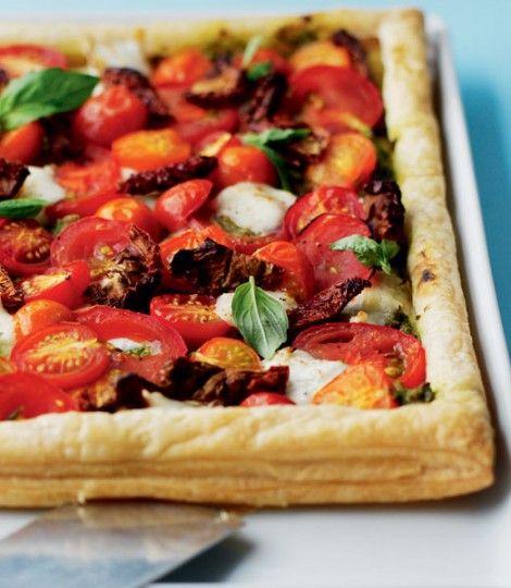 Mixed tomato puff tart