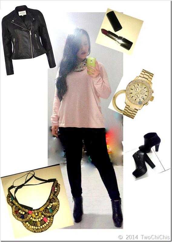 Look: Μαύρο κολάν με ροζ oversized μπλούζα και μαύρα chunky μποτάκια. #marcecko   #riverisland   #leatherjacket   #watches   #ankleboots   #lipstick   #fullahsugah   #zara