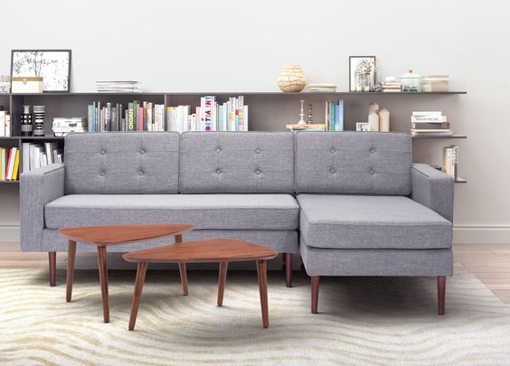 Puget sectional features a slim square profile, added trim piping details and Poly-linen Button tufted upholstery to plush seat. https://www.barcelona-designs.com/products/puget-sectional-gray?utm_content=buffer051f5&utm_medium=social&utm_source=pinterest.com&utm_campaign=buffer #sofa #pugetsectional #replica #midcenturyfurniture #Furniture #homedecor #offeroftheday #furnituresales #salesalesale