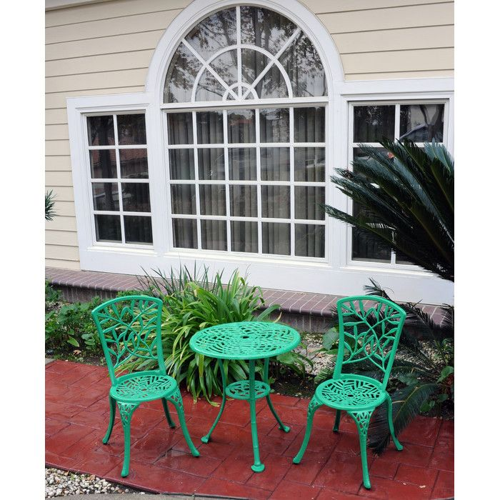 Features:  -Rust free cast aluminum.  -Bright, vibrant finish.  -Have a hole in the center, which can be used for an umbrella.  Product Type: -Bistro set.  Inner Frame Material: -Aluminum.  Table Top