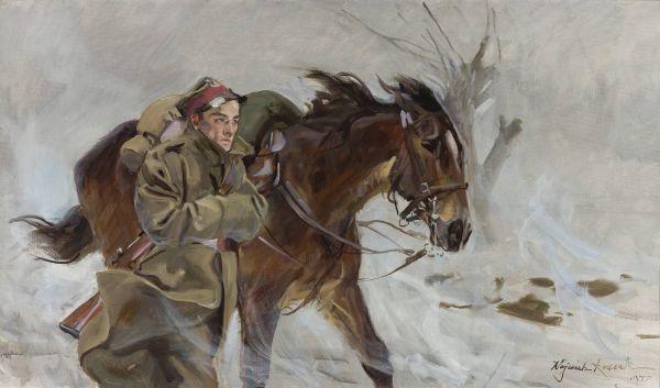 Żołnierz z koniem - Wojciech Kossak