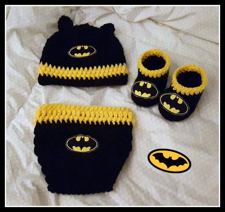 Batman Baby Photo Prop Set With Diaper Cover Hat And Booties Batman Baby  Shower Gift Size