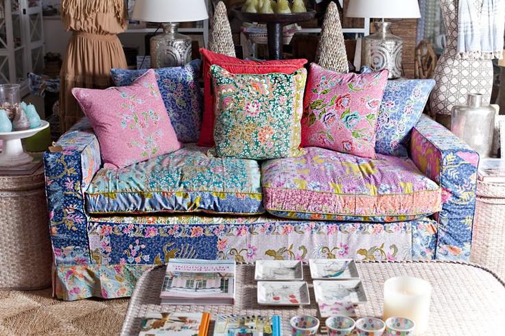 Batik Cotton Patchwork Sofa available at Mandalay Designs....