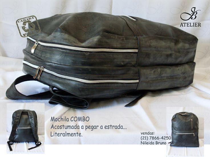 Large backpack, bike and truck inner tube.