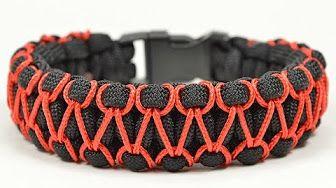 How to make Cobra Weave (Solomon Bar)two color paracord bracelet - YouTube