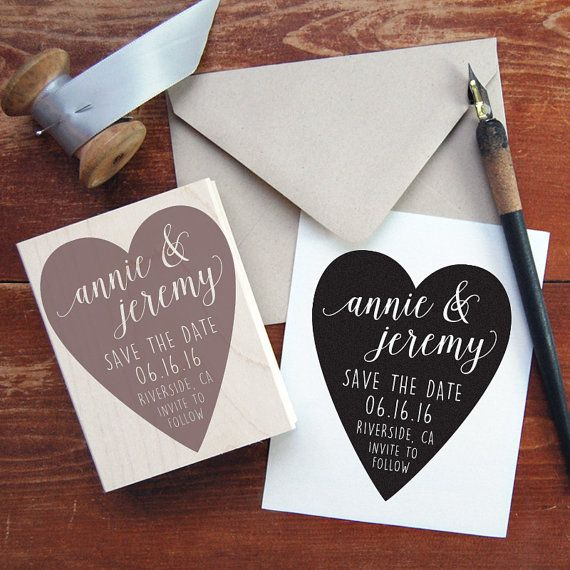 Save the Date Stamp 9  Big Heart  by PaperLuxStationery on Etsy