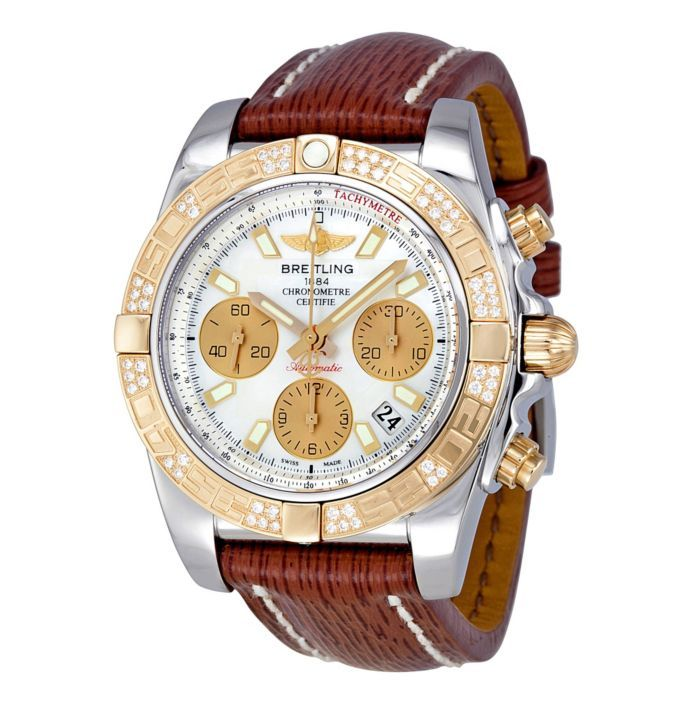 Breitling Men's Chronomat Diamond Watch With Brown Leather