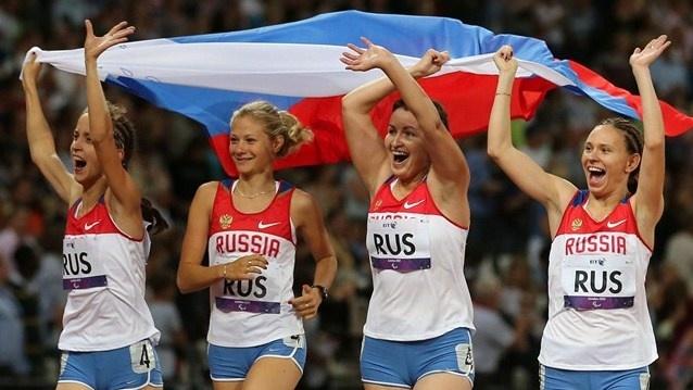 Smiles all the way.....   Anastasiya Ovsyannikova, Svetlana Sergeeva, Elena Ivanova and Margarita Goncharova of Russia win gold in the women's 4x100m relay - T35/T38 on Day 6 of the London 2012 Paralympic Games at theOlympic Stadium.