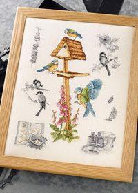 Free anchor cross stitch chart - garden birds