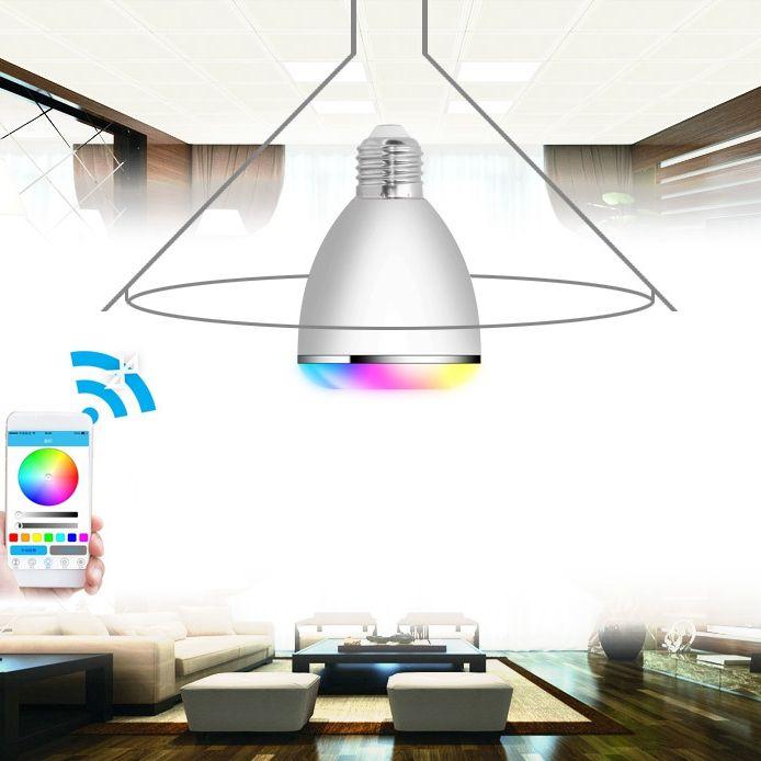 AC100-240V E27 9W Dimmable Timer Bluetooth Music Speaker Color Changeable LED Smart Light Bulb