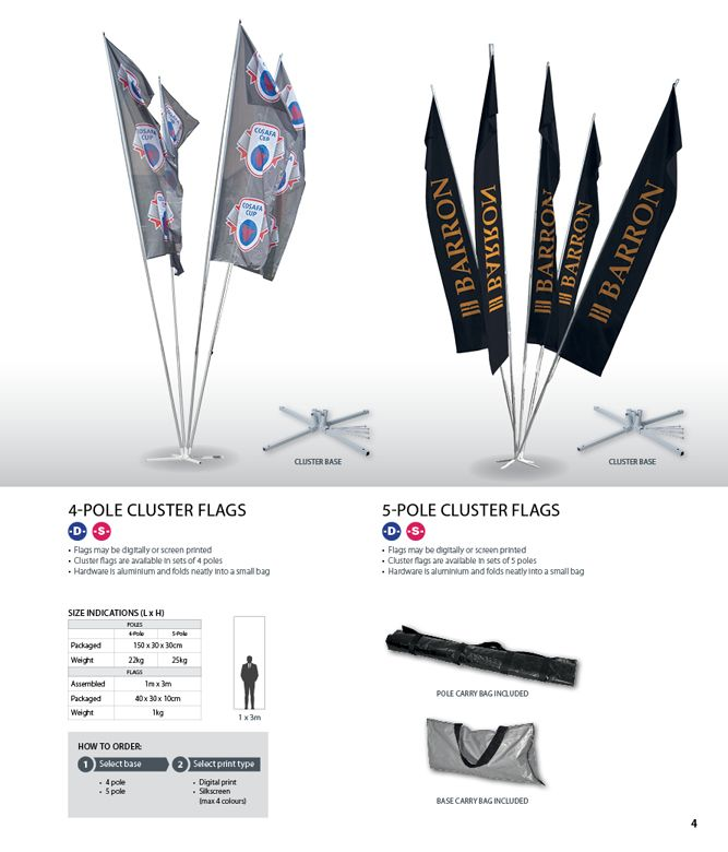 ClusterFlags may be digitally or screen printed and make great visual displays for promotional events •Cluster bannersare available in sets of 4 •Flag poles arealuminium and fold neatly into a small carry bag