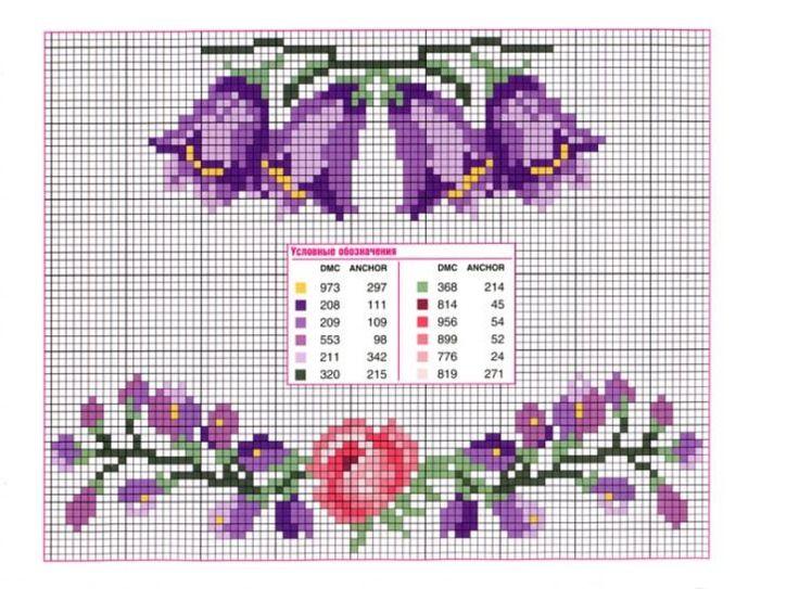 Campanules fleurs grilles point de croix