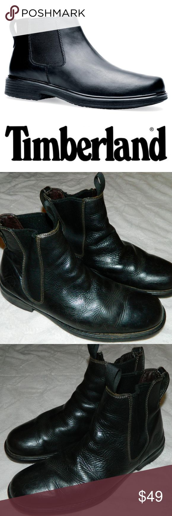 TIMBERLAND Chukka BOOTS Black LEATHER Sz. 12 With some wearing down of heels timberland Shoes Chukka Boots