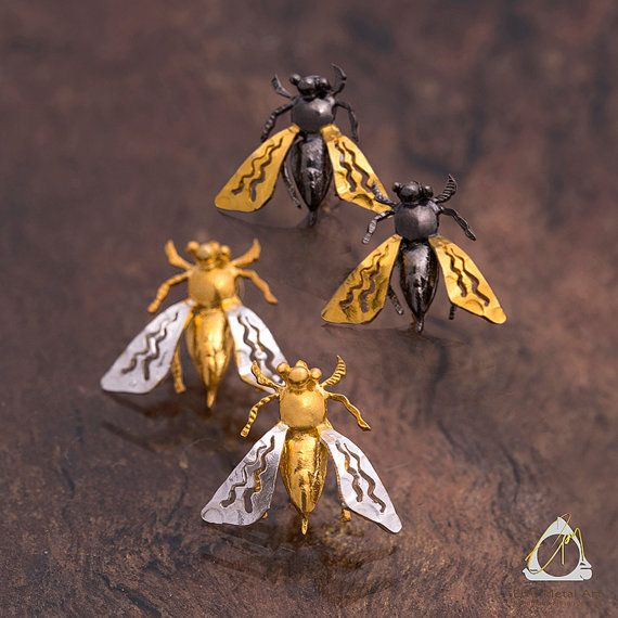 Handmade two-tone nature Bee earrings, silver and gold or black and gold