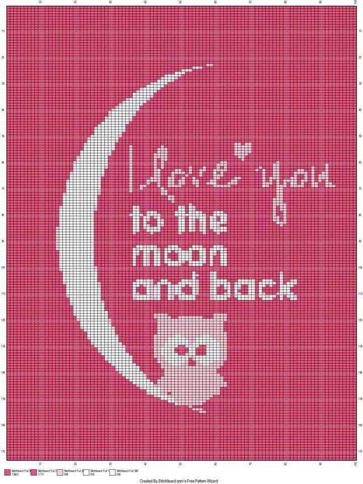 I love you to the moon and back x-stitch